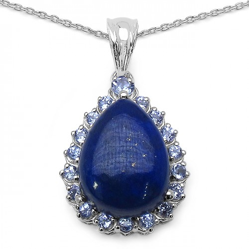 Lapis Cabachon and AA Grade Tanzanite Sterling Sil...