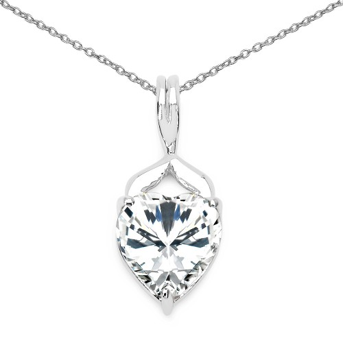 8 MM White Cubic Zirconia Heart Pendant Necklace i...