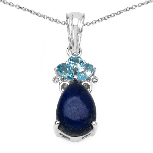 Lapis Cabachon and Swiss Blue Topaz Pendant Neckla...