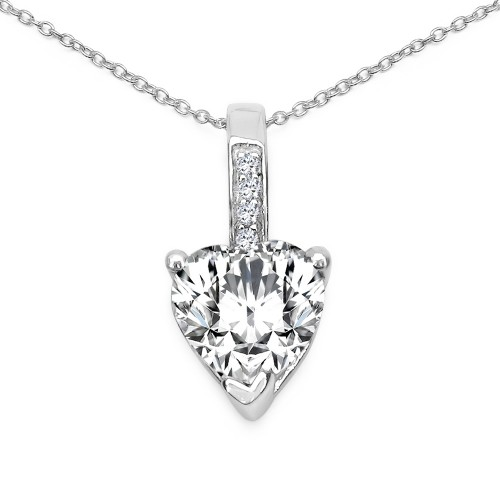 925 Sterling Silver Pendant Necklace with Heart 8 ...