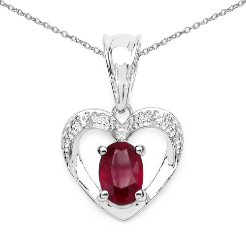 Heart Ruby Pendant Necklace with 7 X 5 MM Oval Sha...