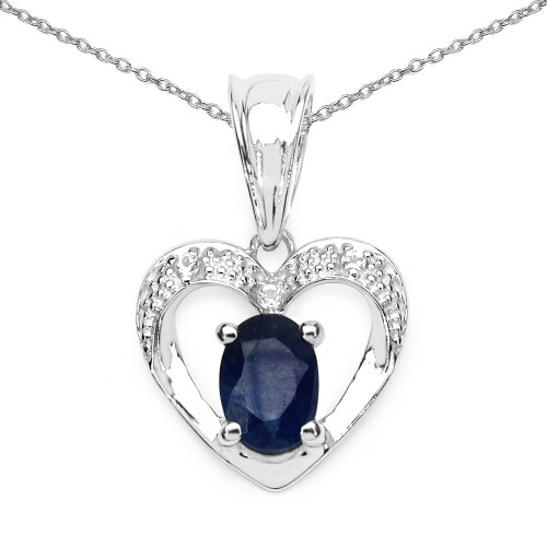 Heart Sapphire Pendant Necklace with 7 X 5 MM Oval...