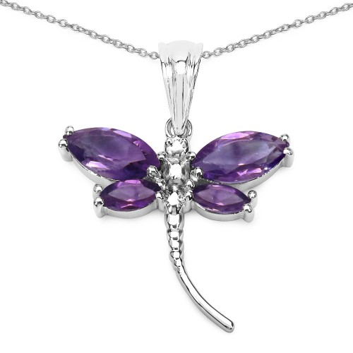 Amethyst Dragonfly Pendant Necklace in 925 Sterlin...