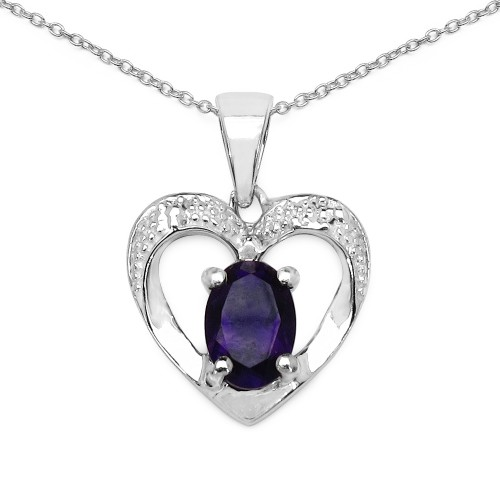 Heart Amethyst Pendant Necklace in 925 Sterling Si...