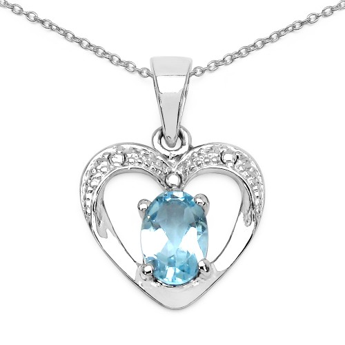 Heart Blue Topaz Pendant Necklace in 925 Sterling ...