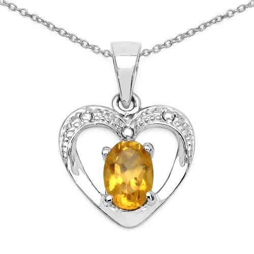 7 X 5 MM Oval Citrine Heart Silver Pendant