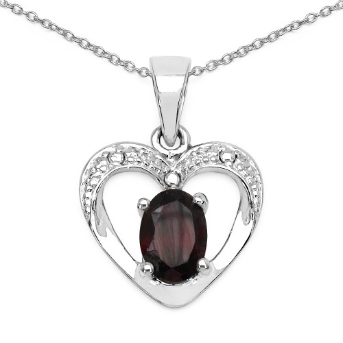 Heart Garnet Pendant Necklace in 925 Sterling Silv...