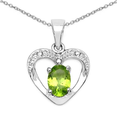 7 X 5 MM Oval Peridot Heart Silver Pendant