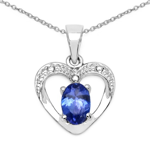 7 X 5 MM Oval Tanzanite Heart Silver Pendant