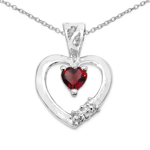 4 MM Heart Garnet Sterling Silver Pendant