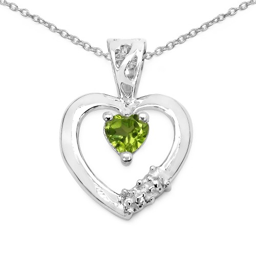 4 MM Heart Peridot Sterling Silver Pendant