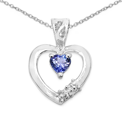 4 MM Heart Tanzanite Heart Pendant in Sterling Sil...