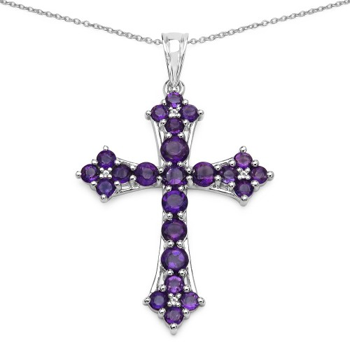 Amethyst and White Topaz Cross Pendant in 925 Ster...