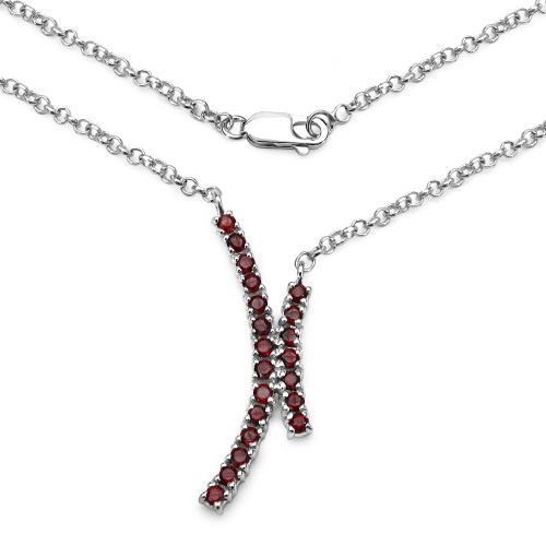 Genuine Garnet Pendant Necklace with 2.20 MM Round...