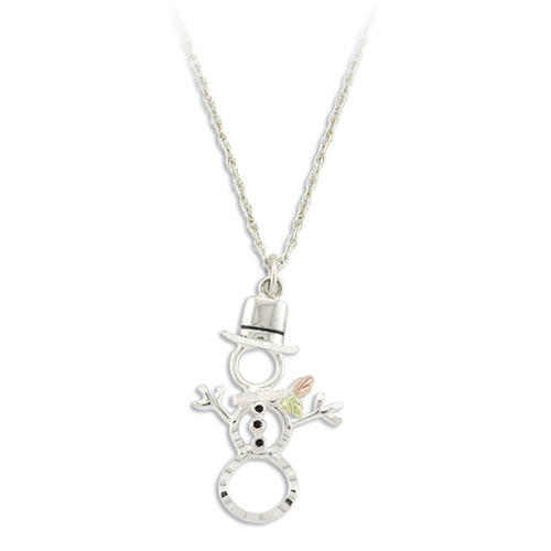 Snowman Black Hills Silver Pendant Necklace