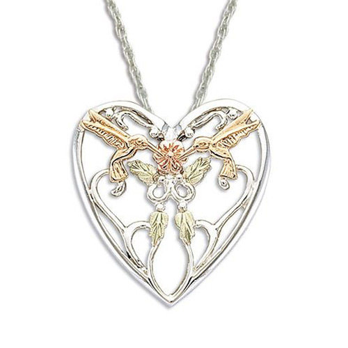 Hummingbird Black Hills Silver Heart Necklace