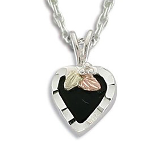 Black Hills Silver Onyx Heart Necklace
