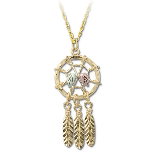 Black Hills Gold 10k Dreamcatcher Pendant Necklace