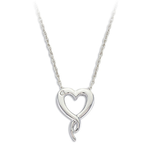 Diamond Heart Silver Pendant